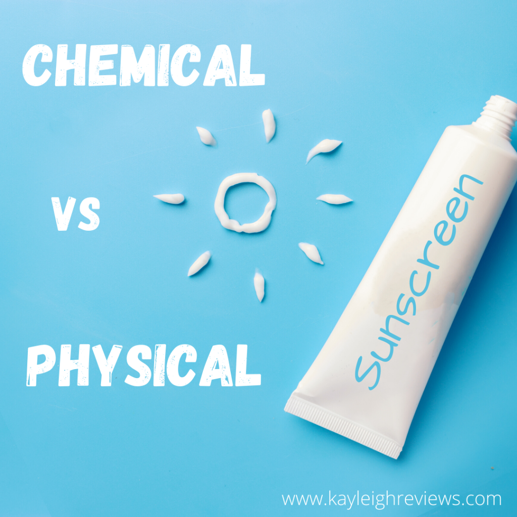 Chemical vs Physical Sunscreen photo. Picture of sunscreen tube with cream in the shape of a sun.