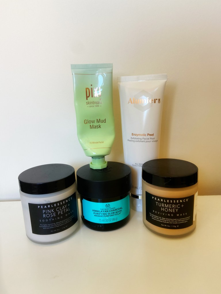 Face Masks - The Body Shop Himalayan Charcoal, Pixi Beauty Glow Mud Mask, Pearlessence pink clay & turmeric & honey. AlumierMD Enzymatic Peel